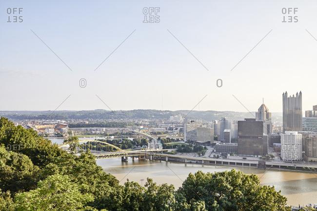 Pittsburgh, Pennsylvania - August 12, 2018: View of bridges along the Ohio river in Pittsburgh, Pennsylvania