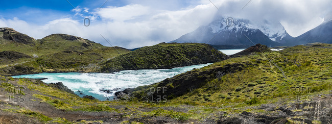 South America- Chile- Patagonia- View to Rio Paine- Torres del Paine National Park