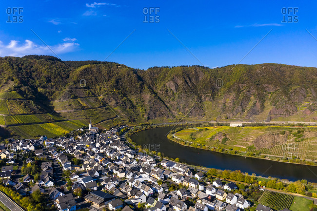 Germany- Rhineland Palatinate- Cochem-Zell- Bremm- Panoramic view of Moselle Loop and Moselle River