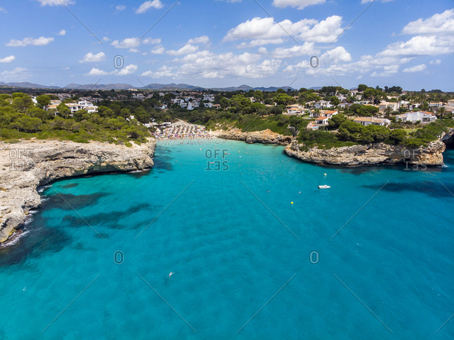 Spain- Baleares- Mallorca- Porto Cristo Novo- Aerial view of Cala Mendia- natural harbor