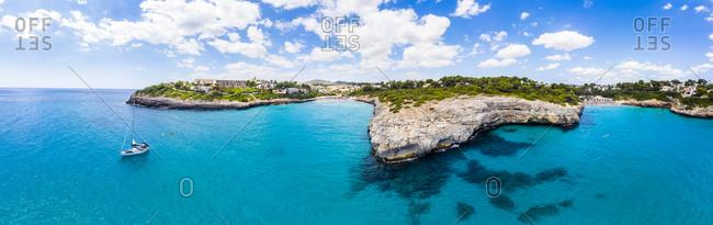 Spain- Baleares- Mallorca- Porto Cristo Novo- Aerial view of Cala Mendia- natural harbor