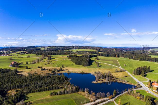 Germany- Bavaria- East Allgaeu- Weilheim-Schongau- Wildsteig- Aerial view of Lake Schwaigsee