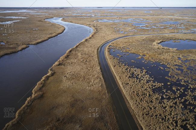 USA- Maryland- Cambridge- High tide flooding from rising sea levels at Blackwater National Wildlife Refuge