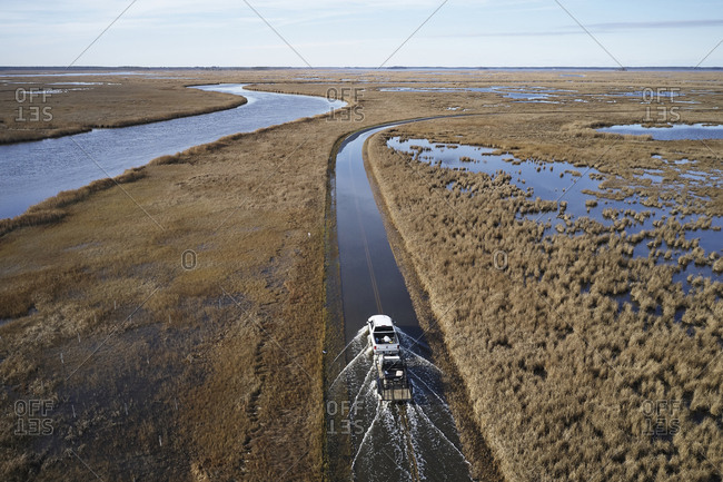 December 20, 2018: USA- Maryland- Cambridge- High tide flooding from rising sea levels at Blackwater National Wildlife Refuge
