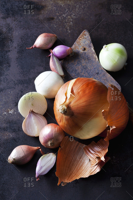 Various sorts of onions on rusty ground