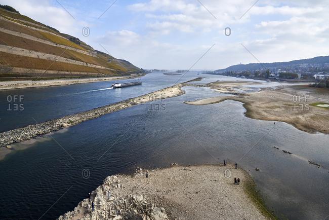 Germany- Rhineland-Palatinate- Bingen- Rhine river- low tide- cargo ship