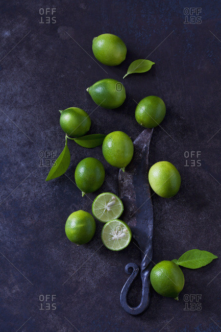 Sliced and whole limequats- leaves and old knife on dark ground