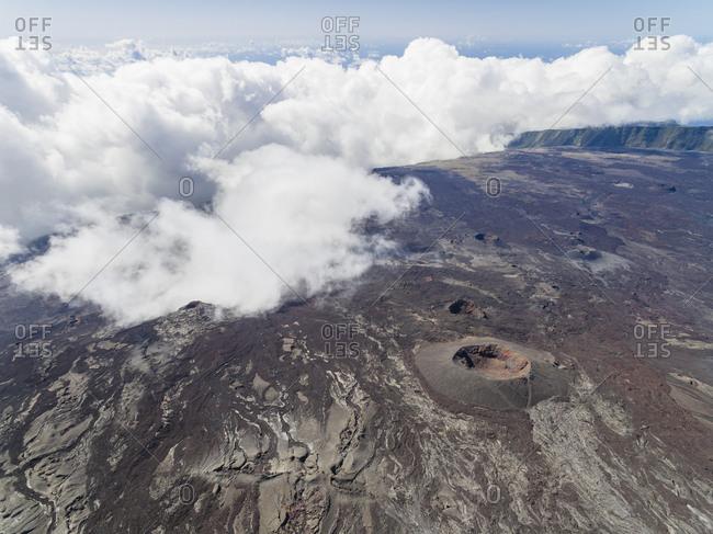 Reunion- Reunion National Park- Shield Volcano Piton de la Fournaise- crater Dolomieu- aerial view