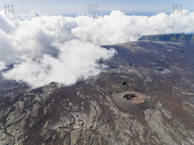 Reunion- Reunion National Park- Shield Volcano Piton de la Fournaise- crater Dolomieu- aerial view