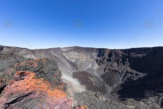 Reunion- Reunion National Park- Shield Volcano Piton de la Fournaise- Crater Dolomieu and Pahoehoe lava
