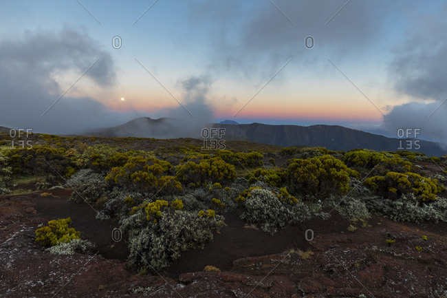 Reunion- Reunion National Park Piton de la Fournaise- full moon