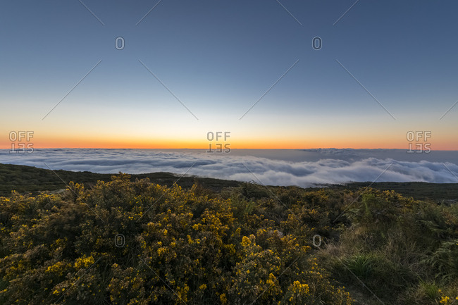 Reunion- Reunion National Park- Maido viewpoint- View from volcano Maido to Cirque de Mafate- sea of clouds and sunset