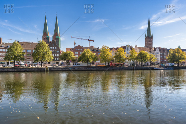 September 18, 2018: Germany- Schleswig-Holstein- Luebeck- Lower Trave river- St. Mary's Church and St. Petri church