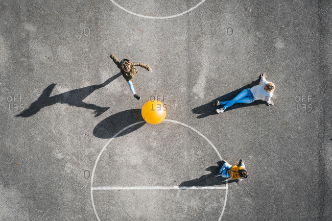 Austria- Aerial- view of basketball field with big ball