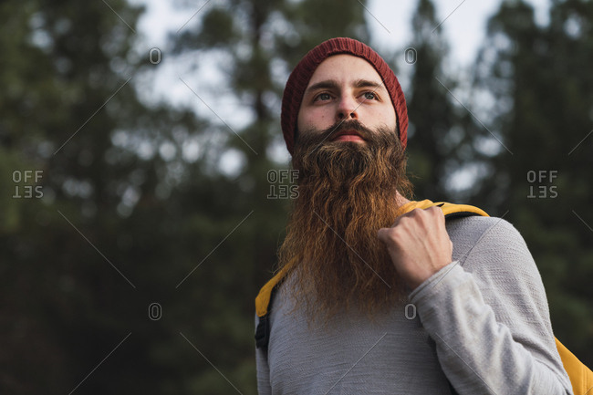 Portrait of bearded man in a forest