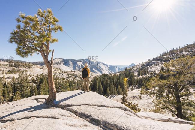 USA- California- Yosemite National Park- hiker standing on viewpoint