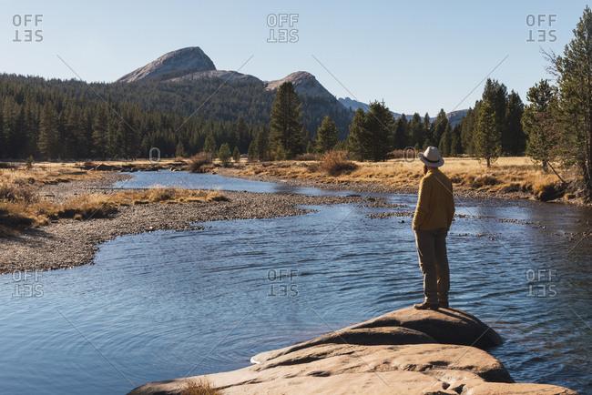 USA- California- Yosemite National Park- Tuolumne meadows- hiker on viewpoint