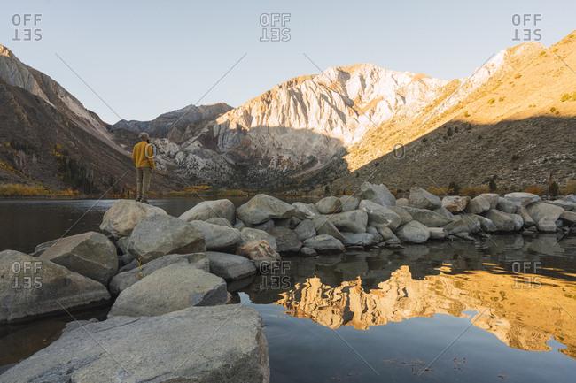 USA- California- Yosemite National Park- Mammoth lakes- hiker at Convict Lake