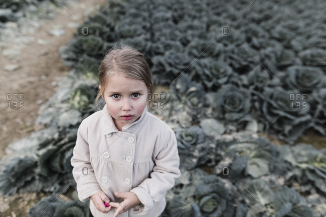 Portrait of a girl standing on a cabbage field