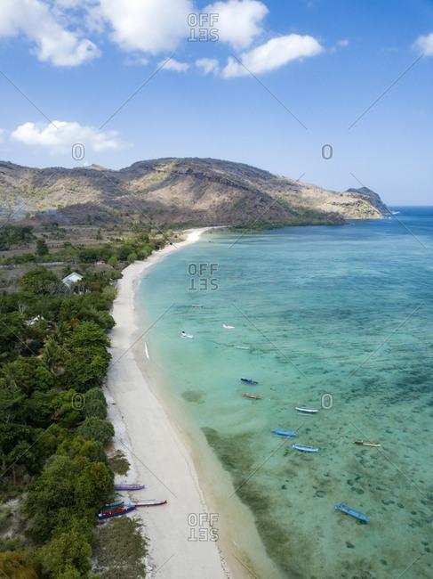 Indonesia- Sumbawa- West Sumbawa- Aerial view of Jelengah beach