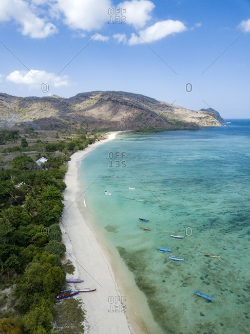 Indonesia- Sumbawa- West Sumbawa- Aerial view of Jelengah beach