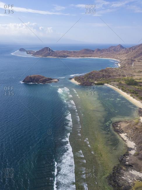 Indonesia- West Sumbawa- Kertasari- Aerial view of beach