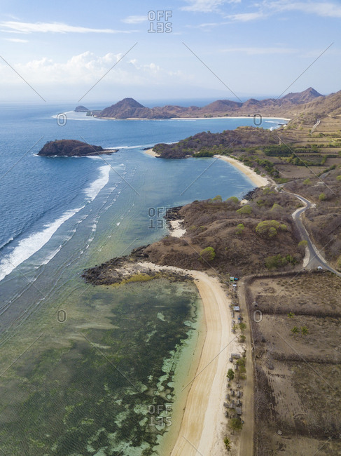 Indonesia- West Sumbawa- Kertasari- Aerial view of beach