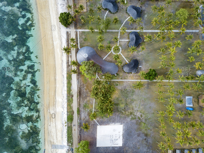 Indonesia- West Sumbawa- Aerial view of Kertasari- beach and huts from above