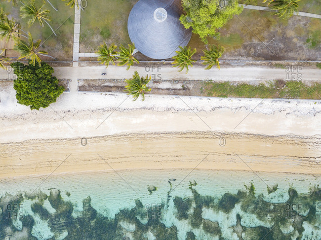 Indonesia- West Sumbawa- Aerial view of Kertasari- beach and hut from above