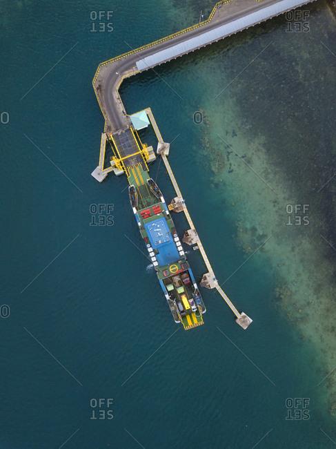 Indonesia- West Sumbawa- Aerial view of Poto Tano- harbor