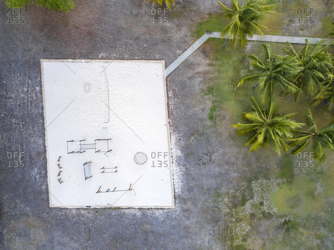 Indonesia- West Sumbawa- Aerial view of Kertasari- sportsfield for beach volleyball at the beach