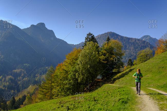Germany- Bavaria- Upper Bavaria- Chiemgau- near Schleching- Achen Valley- hiker on hiking trail