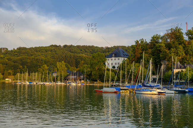 Austria- Land Salzburg- Flachgau- Mattsee- Mattsee Castle- view from lake