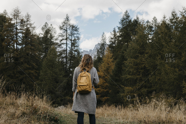 Switzerland- Engadin- woman on a hiking trip in forest