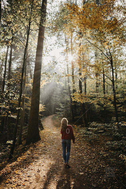 Germany- Black Forest- Sitzenkirch- woman walking in autumnal forest
