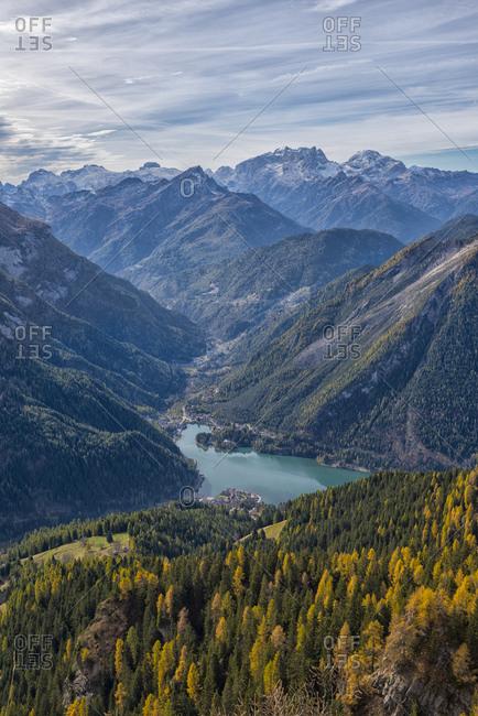Italy- Veneto- Dolomites- Lake Alleghe from Fertazza
