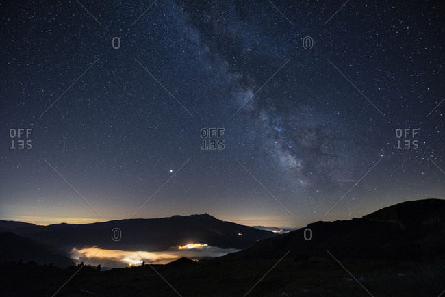 Italy- Umbria- Sibillini National Park- Milky Way over Sibillini mountains at night