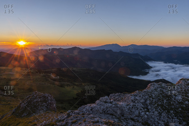 Italy- Umbria- Sibillini National Park- Sibillini mountains at sunrise