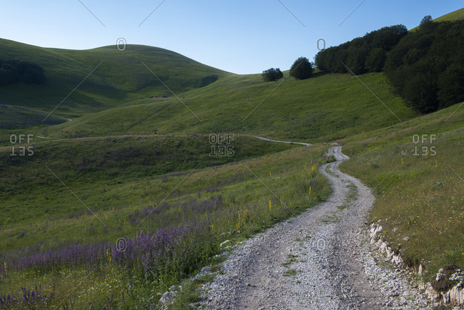 Italy- Umbria- Sibillini National Park- Dirt road in the SIbillini mountains