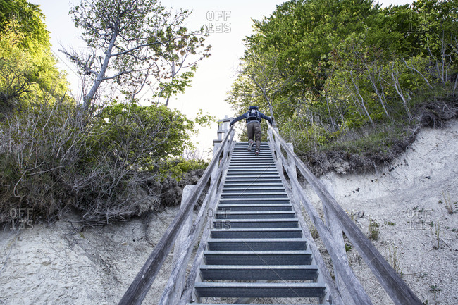 Germany- Mecklenburg-Western Pomerania- Ruegen- Jasmund National Park- HIker ascending stairs