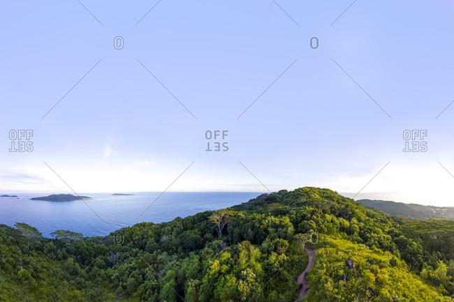 Seychelles- La Digue- Aerial view of Indian Ocean