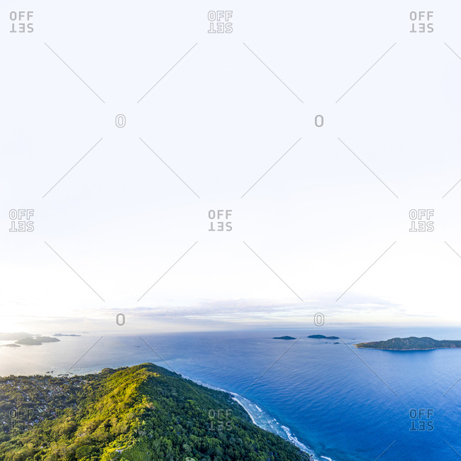 Seychelles- La Digue- Aerial view of Indian Ocean