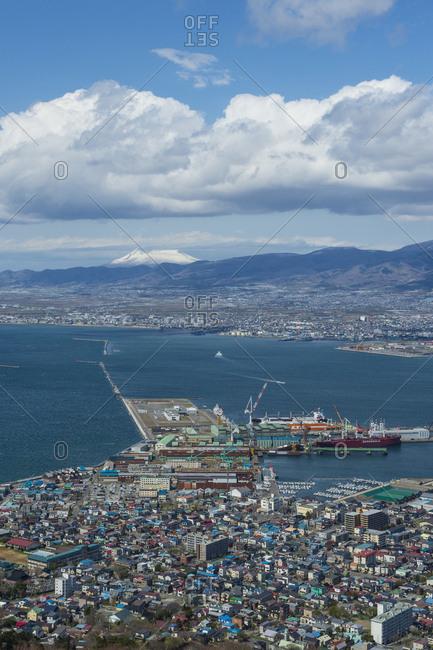 April 30, 2016: Japan- Hokkaido- View over Hakodate- harbour