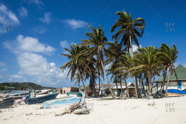 April 5, 2016: Carribean- Colombia- San Andres- fishing boats on palm beach