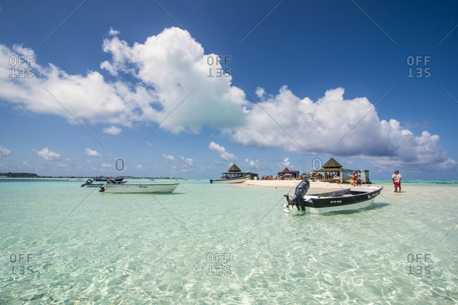 April 6, 2016: Carribean- Colombia- San Andres- tourists and boats in resort on El Acuario