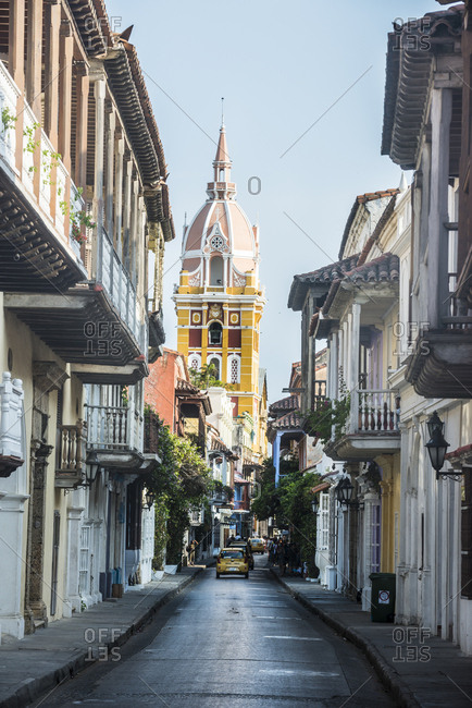 April 3, 2016: Colombia- Cartagena- Old town- Colonial architecture