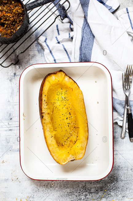 Baked spaghetti squash in gratin dish from above