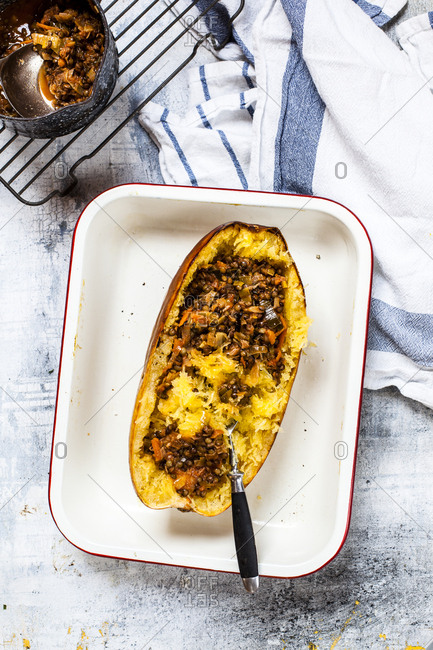 Baked spaghetti squash with vegan bolognese sauce made from lentils- leeks- and carrots