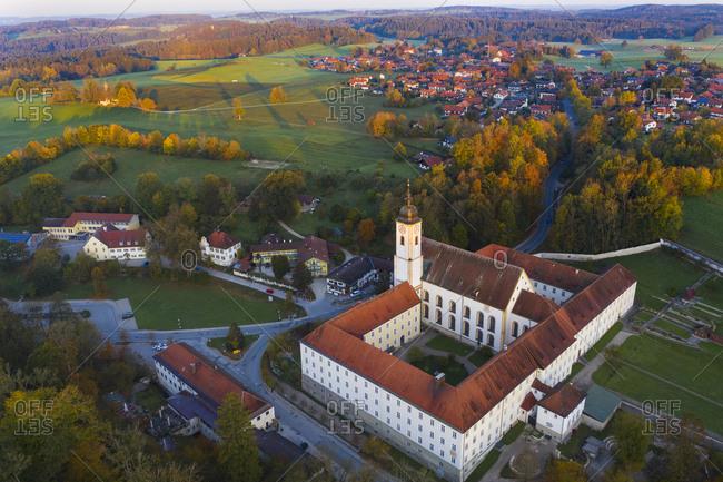 Germany- Bavaria- Upper Bavaria- Dietramszell- aerial view of a monastery- Salesian Sisters monastery