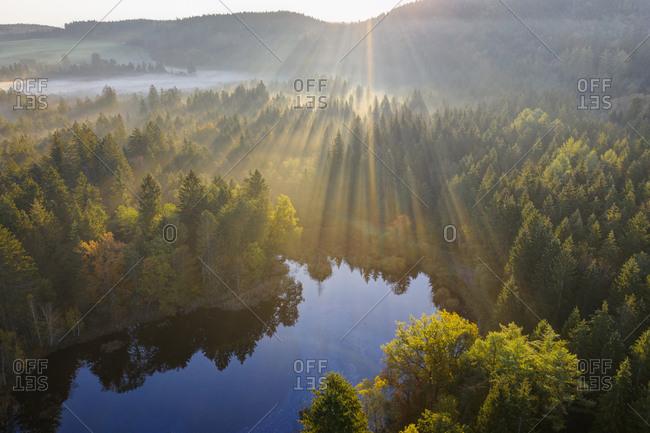 Germany- Bavaria- Upper Bavaria- Toelzer Land- Dietramszell- sunrise over nature reserve Klosterfilz